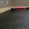 blue and grey speckled rubber fitness mat