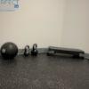 grey speckled interlocking rubber workout mat