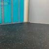 blue speckled locker room rubber interlocking tile